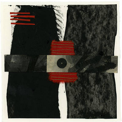 Red Black And White Collage 3 Print by Carol Leigh