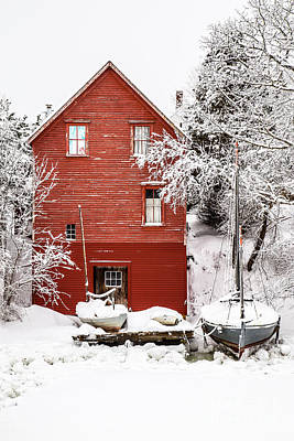 Red Barn In Winter Photograph - Red Boathouse In The Snow by Benjamin Williamson