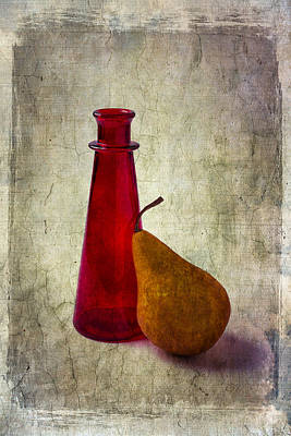 Red Bottle And Pear Print by Garry Gay