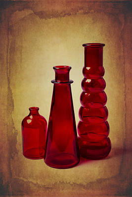 Red Bottles Still Life Print by Garry Gay