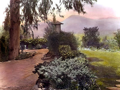 Realistic Photograph - Red Bricks And Violet Mountain by Terry Reynoldson