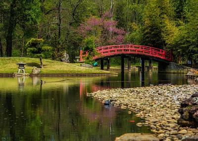 Koi Photograph - Red Bridge by Jon Woodhams