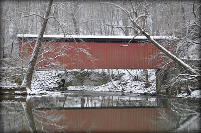 Red Bridge Over The Wissahickon Creek Print by Bill Cannon