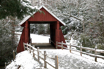 Campbells Covered Bridge Photograph - Red Bridge by Sonja Dover
