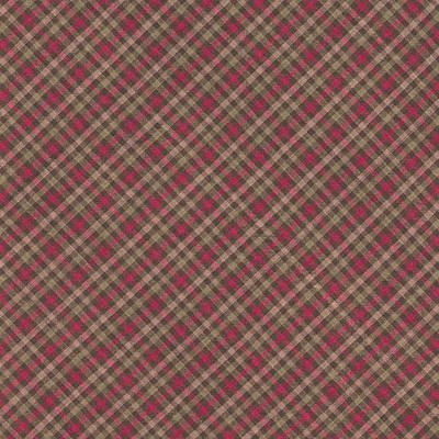 Red Brown And Green Diagonal Plaid Pattern Fabric Background Print by Keith Webber Jr