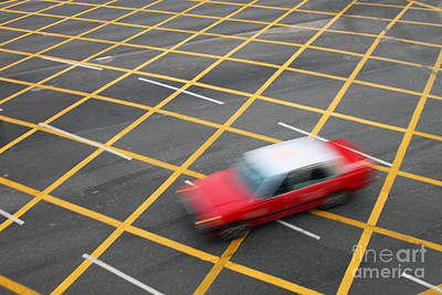 Grid Photograph - Red Cab In Hong Kong by Lars Ruecker