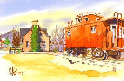 Location Painting - Red Caboose At Whistle Junction Ironton Missouri by Kip DeVore