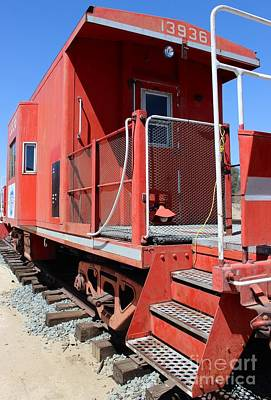 Red Caboose Original by Laura Paine