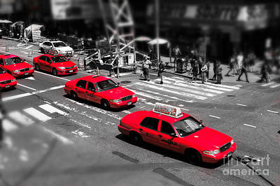 Red Cabs On Time Square Print by Hannes Cmarits