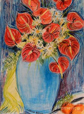Red Calla Lilies Print by Caroline Street