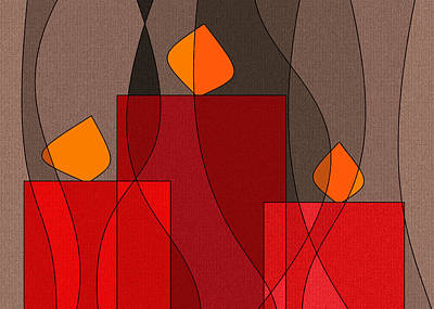 Red Candels II Print by Val Arie