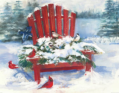Blue Jay Painting - Red Chair In Winter by Carol Rowan