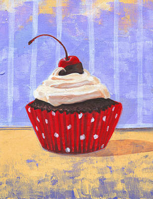 Raspberry Drawing - Red Cherry Cupcake by Marco Sivieri