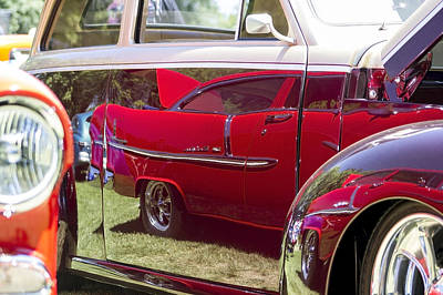 Auto Photograph - Red Chevy Bel Air Reflection by Studio Janney