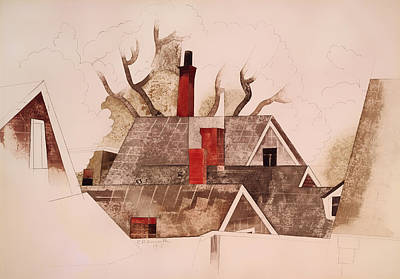 Conceptual Art Painting - Red Chimneys by Mountain Dreams