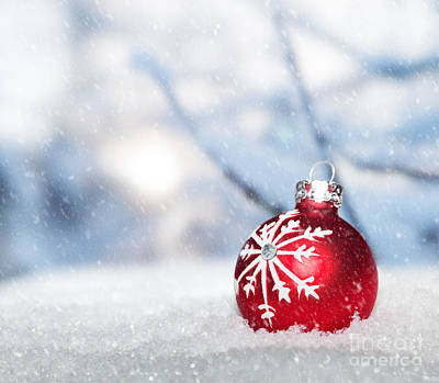 Merry -go- Round Photograph - Red Christmas Ball On Snow. by Michal Bednarek