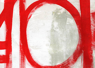 Bright Mixed Media - Red Circle 3- Abstract Painting by Linda Woods