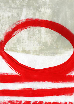 Bright Mixed Media - Red Circle 4- Abstract Painting by Linda Woods