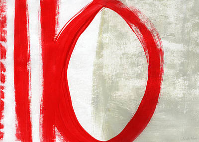 Designer Mixed Media - Red Circle 5- Abstract Painting by Linda Woods