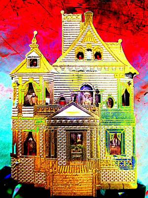 Haunted Mansion Mixed Media - Red Cloud Mansion by Sun Browser