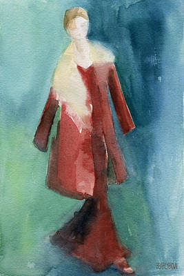 Wall Art Painting - Red Coat And Long Dress - Watercolor Fashion Illustration by Beverly Brown Prints