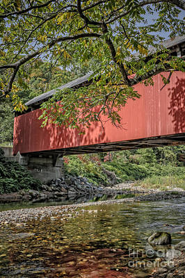 Red Covered Bridge Print by Edward Fielding