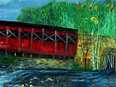 Red Covered  Bridge  Print by Rick Todaro