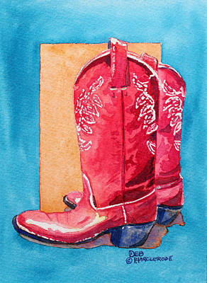 Red Cowgirl Boots Original by Deb  Harclerode