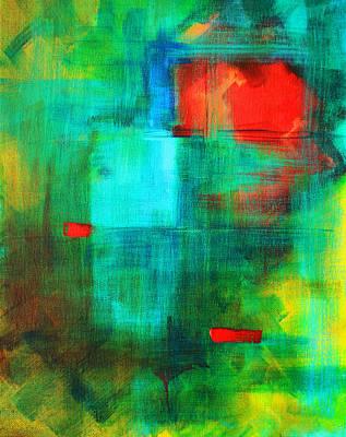 Red Cube Painting - Red Dash by Nancy Merkle