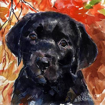 Black Labrador Puppies Painting - Red Delicious by Molly Poole