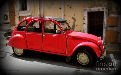 Red Deux Chevaux Print by Lainie Wrightson