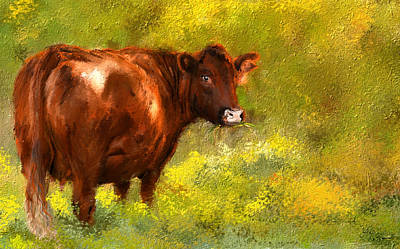 Autumn Landscape Painting - Red Devon Cattle On Green Pasture by Lourry Legarde