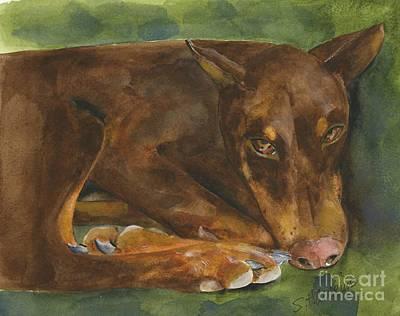 Doberman Art Painting - Red Doberman Watercolor by Sheryl Heatherly Hawkins
