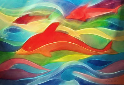 Dolphin Digital Art - Red Dolphin by Ann Croon