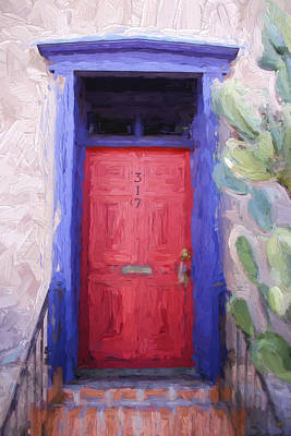 Red Door 317 Tucson Barrio Painterly Effect Print by Carol Leigh