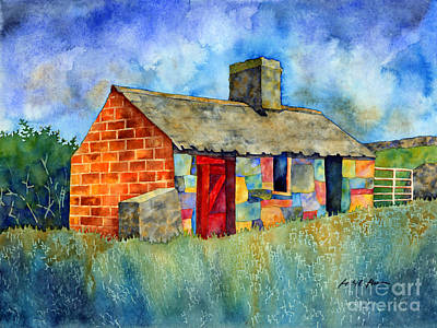 Farm House Painting - Red Door Cottage by Hailey E Herrera
