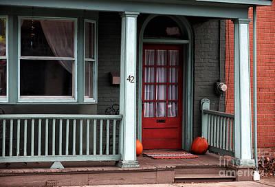 Red Door In Lambertville Print by John Rizzuto