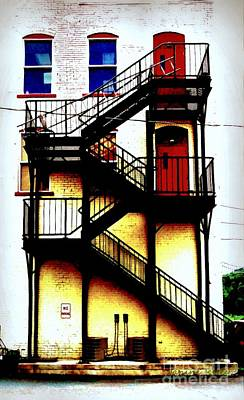 Red Doors On Black Fire Escape Print by Janine Riley