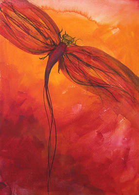 Julie Lueders Artwork Painting - Red Dragonfly 2 by Julie Lueders