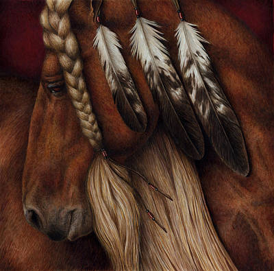 Native American Watercolor Painting - Red Eagle by Pat Erickson