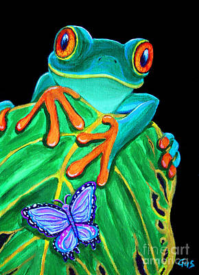 Frogs Painting - Red-eyed Tree Frog And Butterfly by Nick Gustafson