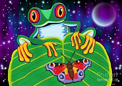 Moth Digital Art - Red Eyed Tree Frog And Moth by Nick Gustafson
