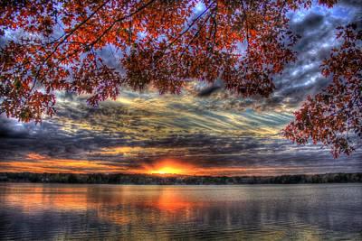 Red Fall Leaves Sunset Lake Oconee Print by Reid Callaway