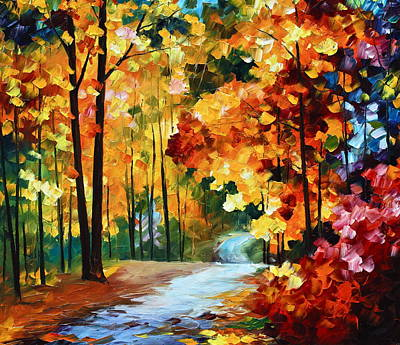 Park Oil Painting - Red Fall by Leonid Afremov
