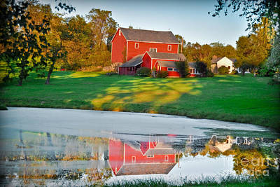 Red Farm House Print by Gary Keesler