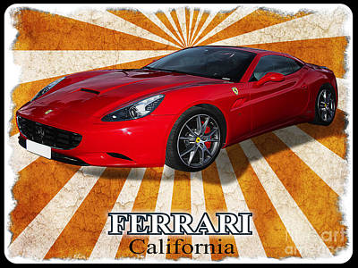 Prancing Digital Art - Red Ferrari California  by Stefano Senise