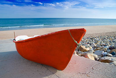 Red Fishing Boat Algarve Portugal Print by Amanda And Christopher Elwell