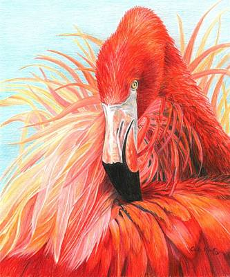 Red Flamingo Original by Carla Kurt