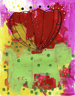 Lime Painting - Red Flower Abstract by Sarah Ogren