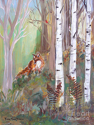 Fox Kit Painting - Red Fox And Cardinals by Robin Maria  Pedrero